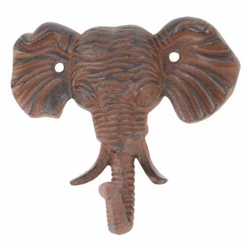 1 X Antiqued Reproduction Cast Iron Elephant Head Single Hook Wall Decor