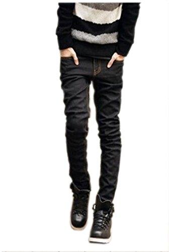 Easy Men Fashion Fold Slim Fit Straight Stone Wash Jeans Black