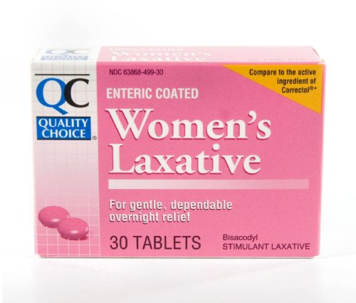 Quality Choice Enteric Coated Women's Laxative Bisacodyl 5mg. Tablets 30 Count,  Boxes (Pack of 6)