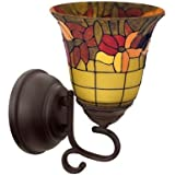 It's Exciting Lighting Tuscany Faux Stained Glass Flameless Oil Rubbed Sconce
