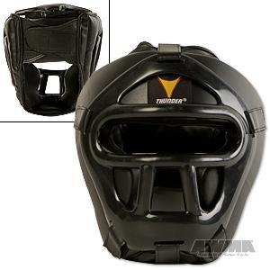ProForce Thunder Vinyl Head Guard w/ Face Shield - Black - Small / Medium