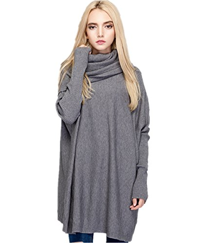 MML Womens Cowl Neck Long Sleeve Loose Knit Top Cable Pullover Sweaters (One Size, Gray) (Gray Cowl Neck Sweater compare prices)