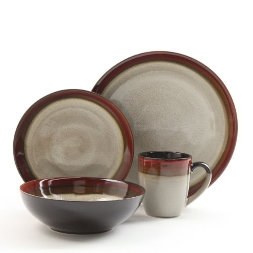 Gibson Couture Bands 16-Piece Dinnerware Set, Red and Cream