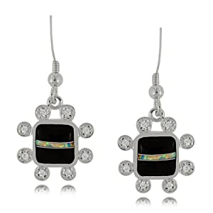 Black Onyx Dangle Earrings Sterling Silver W/ Cz Frame Black Onyx Dangle Earrings Sterling Silver W