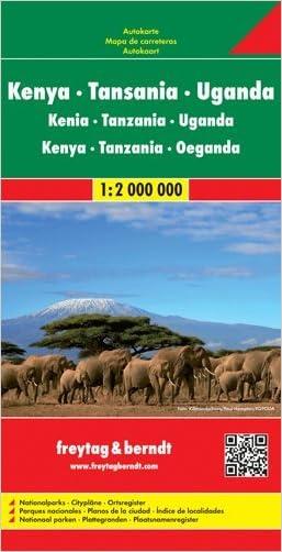 Kenya, Uganda, Tanzania, Rwanda & Burundi 1:2,000,000 Travel Map with city plans, 2012 edition written by Freytag