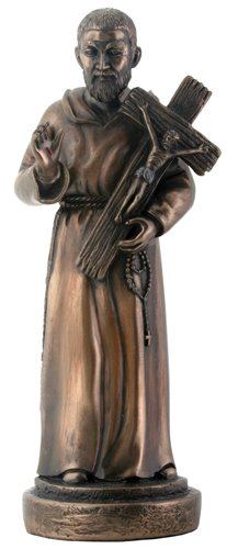 Cold Cast Bronze Patron Saint Padre Pio Pius Holding Crucifix Home Figure Statue