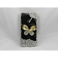 3D butterfly Bling Crystal clear rhinestone Case Cover for Apple Iphone 4 4s