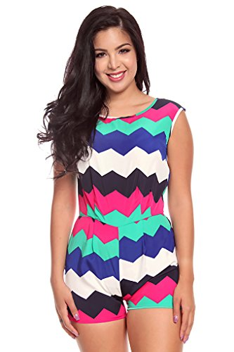 Lolli Couture Multi Printed Sleveless Romper M Whitegreenmulti front-218934