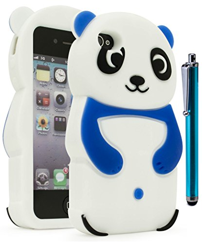 iPhone 4 Phone Case, Bastex 3D Silicone Dark Blue & White Panda Bear Case for Apple iPhone 4, 4s**INCLUDES STYLUS** (Panda Bear Phone Case compare prices)