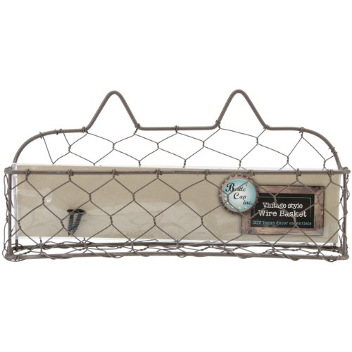 Bottle Cap Wide Wire Basket With Screws, 9-Inch