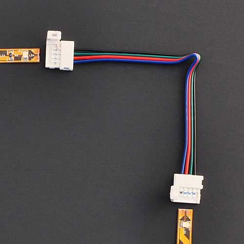 """Ledwholesalers Led Rgb Strip Light Connector 4-Conductor 10Mm Strip To Strip 8"""" Long Jumper, 2353-10Mm"""