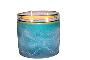 Himalayan Trading Post 16-Ounce Frosted Glass Soy Scented Candle, Bougainvillea, Large, Teal