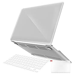 iBenzer - 3 in 1 Soft-Skin Smooth Finish Soft-Touch Plastic Hard Case Cover & Keyboard Cover & Screen Protector for Macbook Air 11''NO CD-ROM, Crystal Clear MMA11CYCL+2