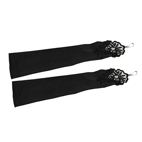 APAS Fingerless Lace Gloves For Wedding Evening Party Satin Bridal Gloves Wedding Accessories Black