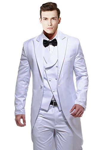 MYS da uomo Custom Made bianco coda lunga-Cappotto con Gilet e pantaloni Set White Su Misura