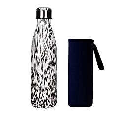 Yeevion Stainless Steel Water Bottle Insulated Hot Cold Cola Bottle Carrier Leopard