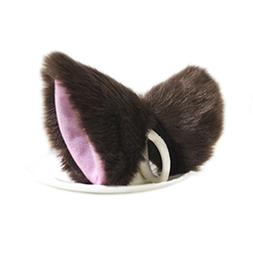 Yiding Cat Fox Fur Ears Hair Clip Anime Cosplay Costume Brown with Pink Inside
