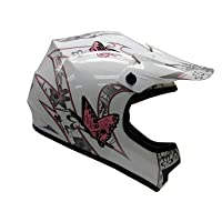 TMS® Youth White Pink Butterfly Dirt Bike ATV Motocross Off-road Helmet DOT with Goggles and Gloves (Medium) by T-Motorsports