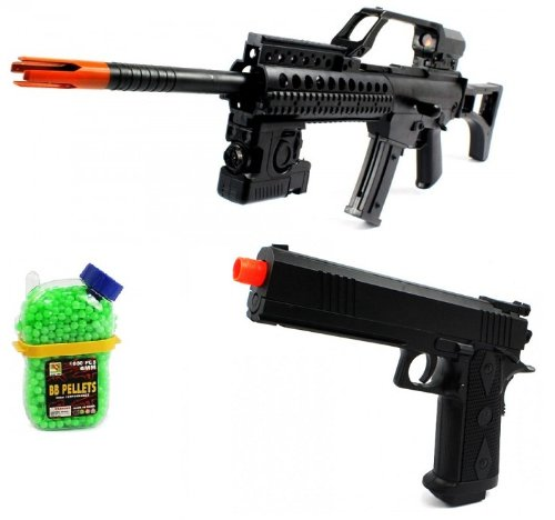 (Combo) Arms Combat Force R36K Spring Airsoft Gun Flashlight Fps-230 + Electric Airsoft Pistol Full Auto Armed Defense Fps-180 Aep + 1000 Holster Container Of Bb'S