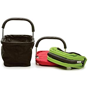 RSVP Black Polyester Collapsible Market Basket with Pocket