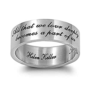 Stainless Steel Helen Keller Engraved Quote Ring - size11
