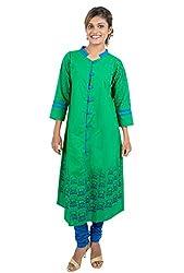 Kandida Madhubani Style Desi-Truck Print Green Cotton Kurta