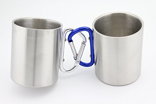 Finex® *Set of 2* Stainless Steel Portable Travel Water Tea Coffee Mug with D-Ring Carabiner Hook as Handle for Outdoor Sports Camping Hiking Climbing Home Office Adult & Kids (Large 10oz)