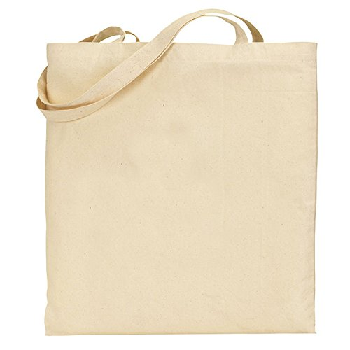Pack of 10 Cotton Tote bags, 100% cotton Natural Long handle bag