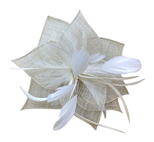 Am Clothes Womens Feather Flower Fascinator Hair Clip (Ivory)
