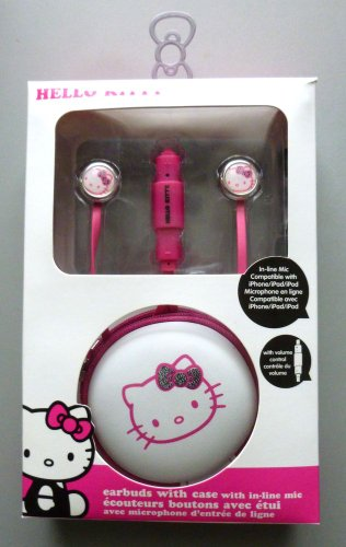 Hello Kitty 12309-Tru Earbuds With In-Line Mic And Case