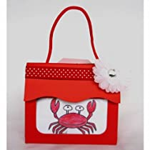 Charming Custom Art Baby Bib-n-Tote with flower hair barette (Red Crab; One Size)