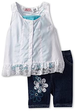 Young Hearts Little Girls' 2 Piece Mock Tunic With Denim Bermuda, Aqua/Turquoise, 2T