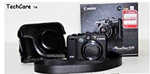 """TechCare Tm """"Ever Ready"""" Protective Leather Camera Case, Bag for Canon PowerShot G15 , Canon PowerShot G16"""