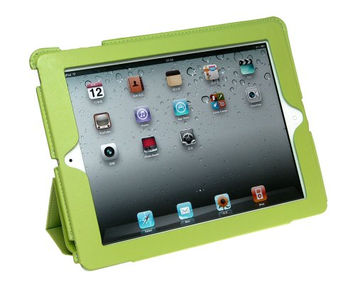 Bundle Monster Apple iPad 2 Synthetic Leather Kickstand Cover Case - Green