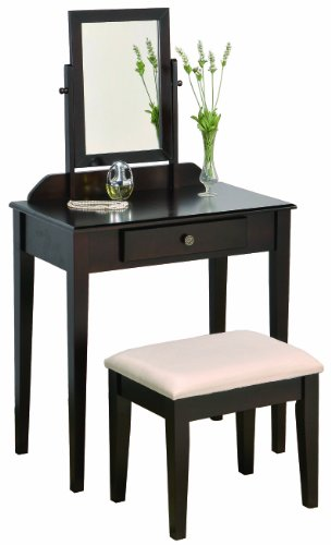 Check Out This Crown Mark Iris Vanity Table/Stool, Espresso Finish with Beige Seat