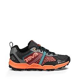 Teva Escapade Low Athletic Trail Shoe (Little Kid/Big Kid), Black/Orange/Blue, 13.5 M US Little Kid