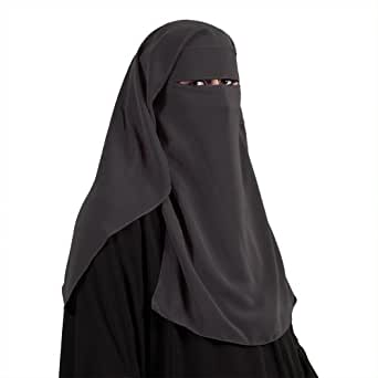 saudi niqab dreilagig dunkelgrau muslim burka khimar islamische kleidung 11 1007. Black Bedroom Furniture Sets. Home Design Ideas