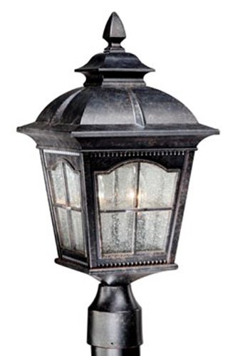Vaxcel Usa Adopu090Bp, Arcadia 2 Light Outdoor Post Lighting Fixture In Black And Silver, Glass