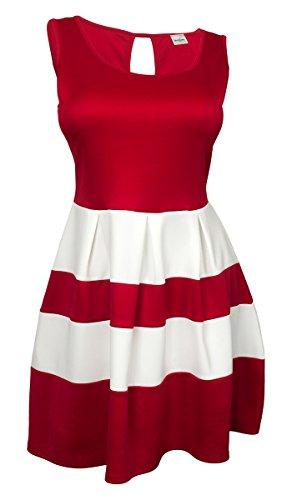 eVogues Plus size Color Block Flare Mini Dress Red White - 2X