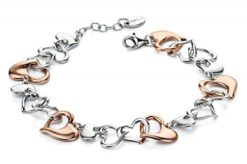 Fiorelli Silver Rose Gold & Silver Multi Heart Bracelet 17+3Cm