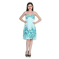 CJ15 TurquoiseGeorgette Strapless Dress For Women