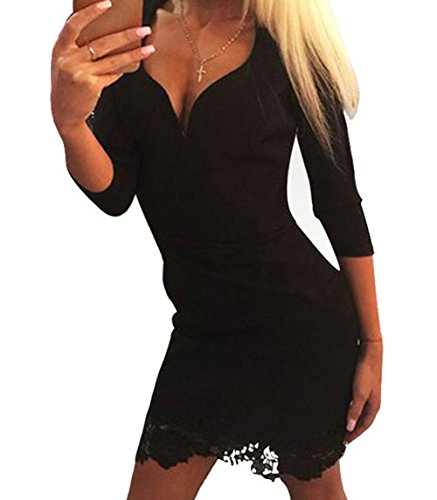 TomYork Black Lace Applique Hemline Sleeved Mini Dress(Size,M) (New York Basic Tips And Etiquette compare prices)