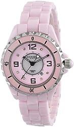 Akribos XXIV Women's AK485PK-N Ceramic Quartz Date Diamond Watch