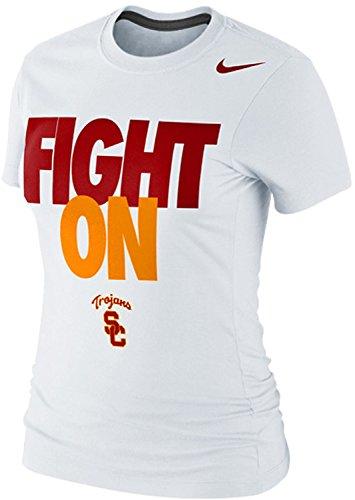 Nike Women's USC Trojans Fight On Bold Type Slim Fit NCAA Local Fan T-Shirt (XL, White)