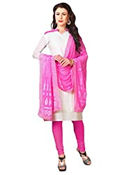 Inddus Women White & Pink Colored Embroidered Dress Material