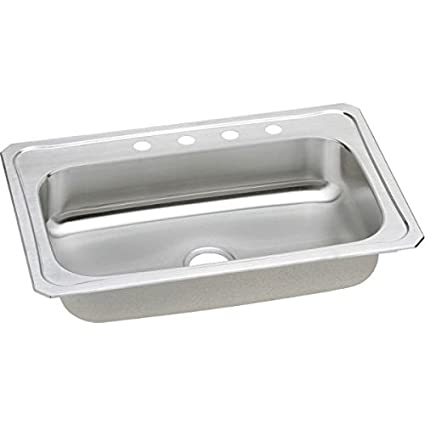 "Elkay CRS33221 20 Gauge Stainless Steel Single Bowl Top Mount Kitchen Sink, 33"" x 22"" x 7"""