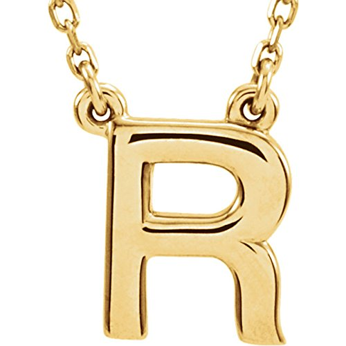 14K Yellow Gold Block Initial Necklace R 16