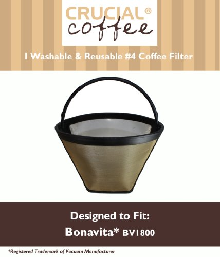 Washable & Reusable Coffee Filter #4 Cone Fits Bonavita BV1800 8-Cup Coffee Maker; Designed & Engineered by Crucial Coffee