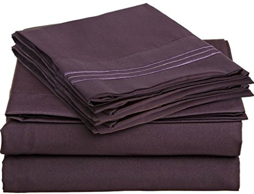 Bamboo Sheets, Eco-Friendly, Silky Soft, Wrinkle Free (Queen, Eggplant) front-849820