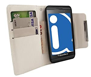 iTALKonline WHITE Executive Wallet Case Cover Skin Cover with Credit / Business Card Holder For BlackBerry Z10